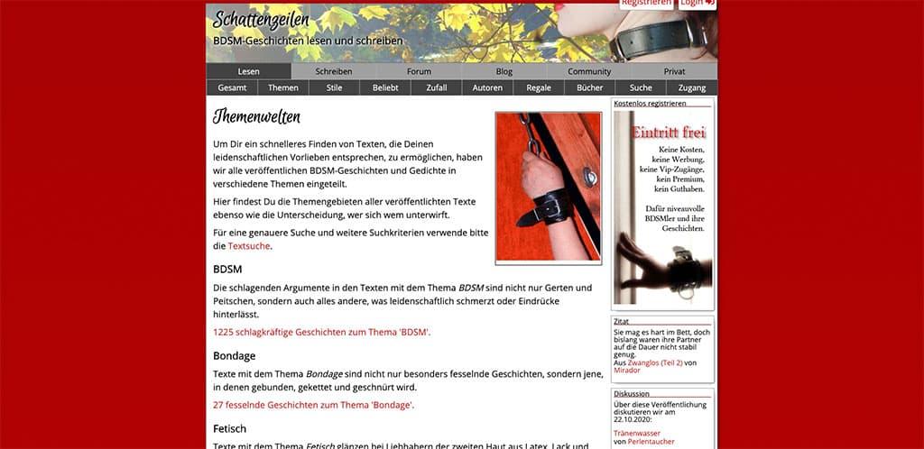 Auch Schattenzeilen.de versorgt dich mit heißen Domina Stories und Femdom Geschichten