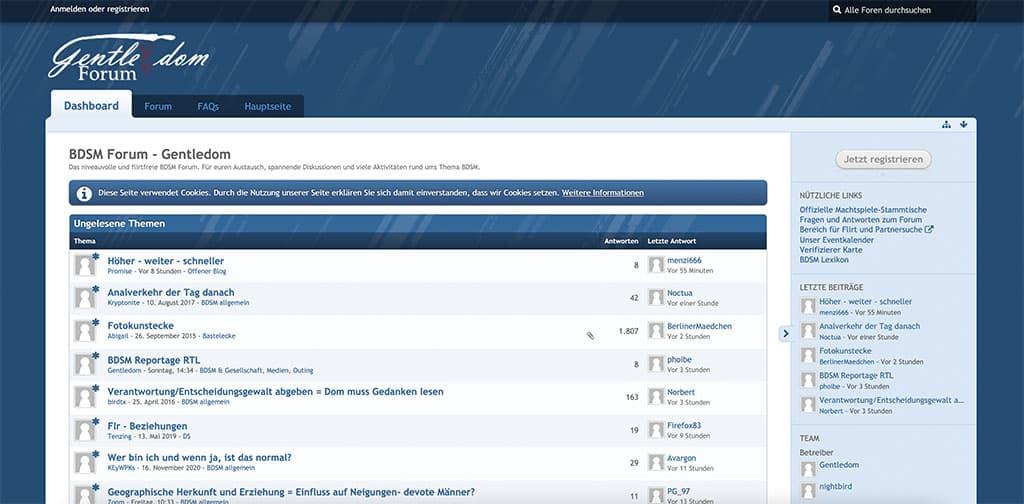 Gentledom bietet verschiedene Funktionen und auch ein aktives BDSM Forum an